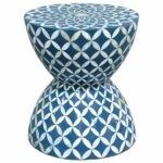 kathy kuo home cornflower coastal beach hourglass blue outdoor side table white inlaid shell stool gray wash coffee rattan drum nate berkus furniture indoor bistro tile patio 150x150