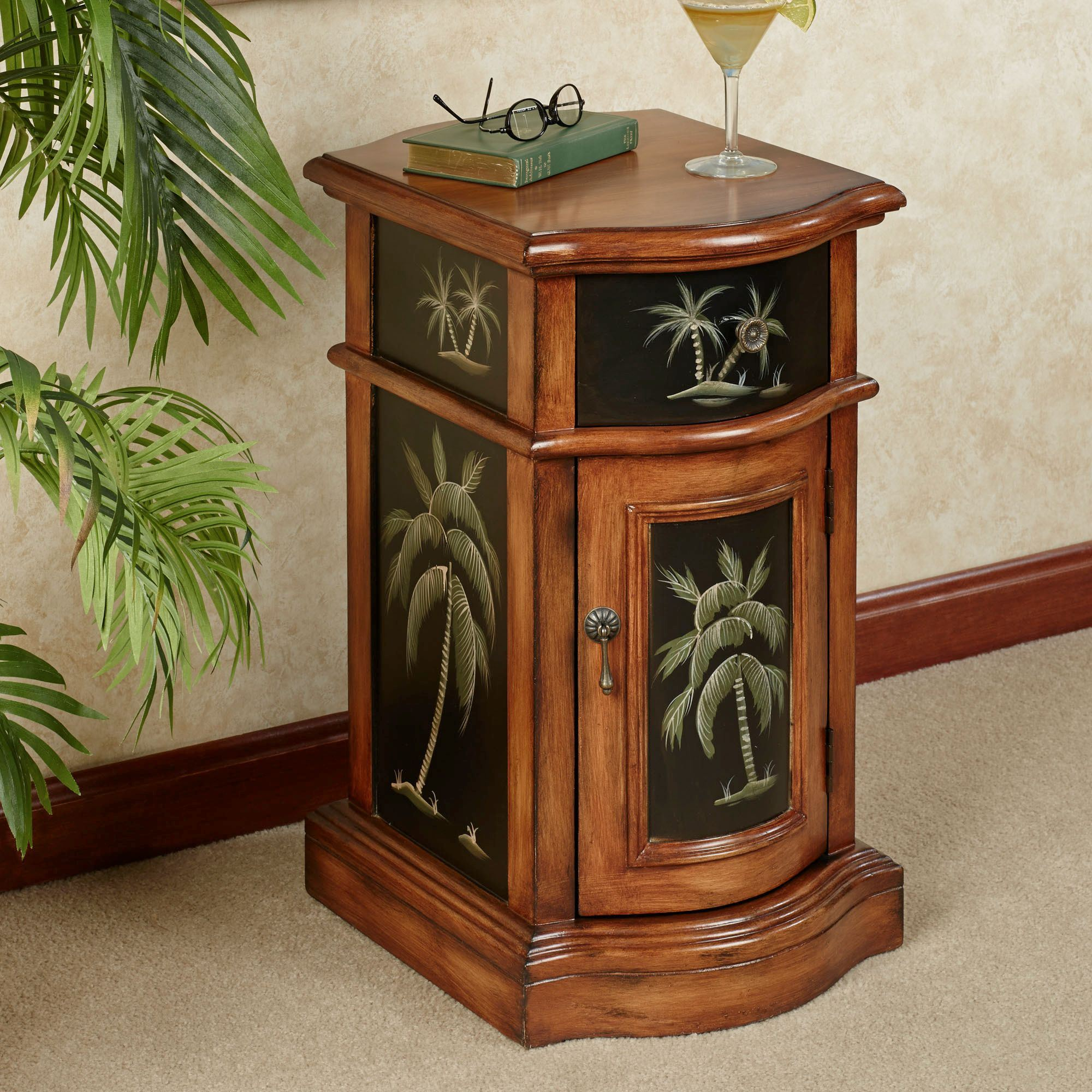 kellsie palm tree storage accent cabinet furniture autumn cherry touch zoom slide bolt inch side table outdoor console with monarch piece coffee marble bar mid century modern