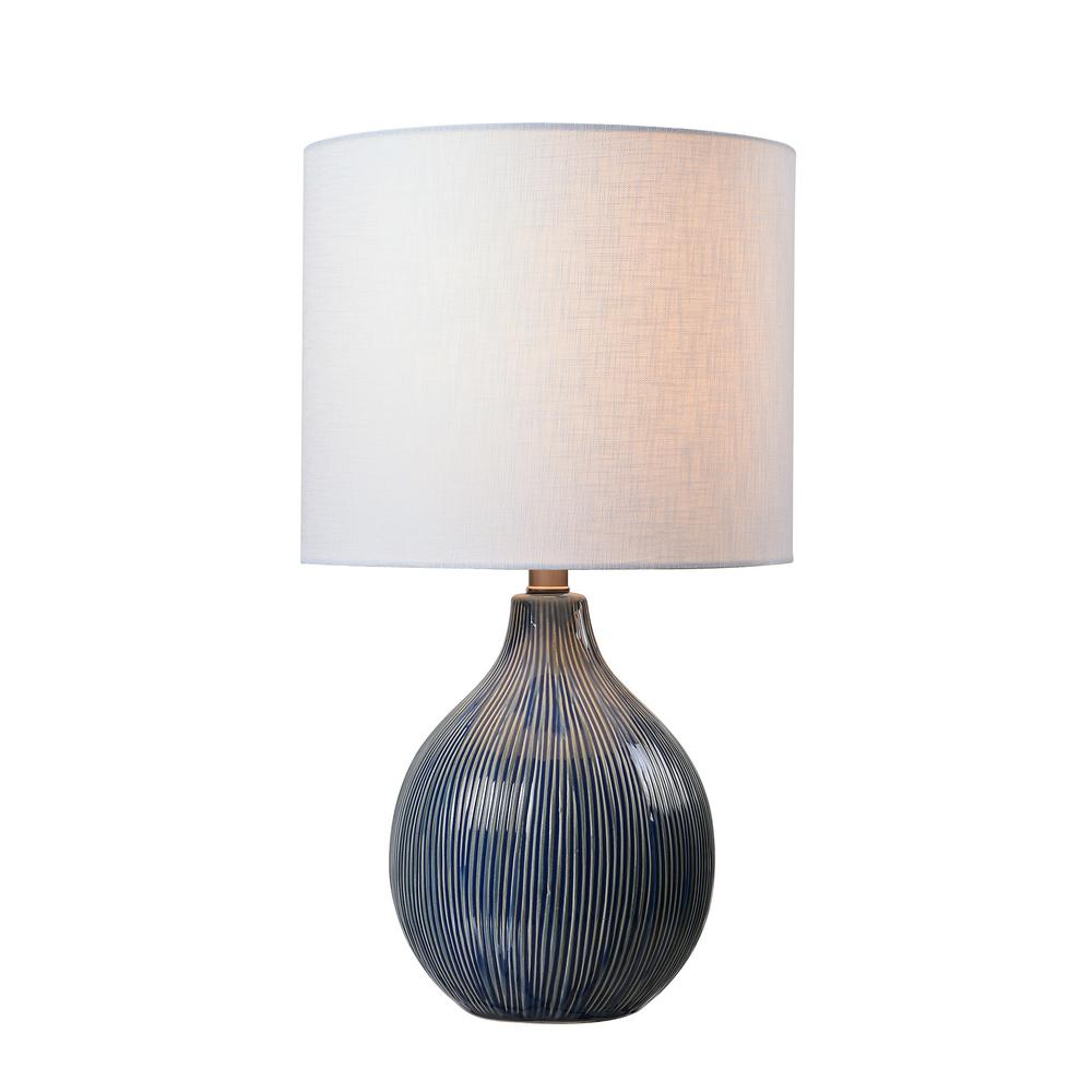 kenroy home intaglio blue accent lamp with white linen shade distressed ceramic finish table lamps patio furniture dining sets drawer end target red round side narrow entryway