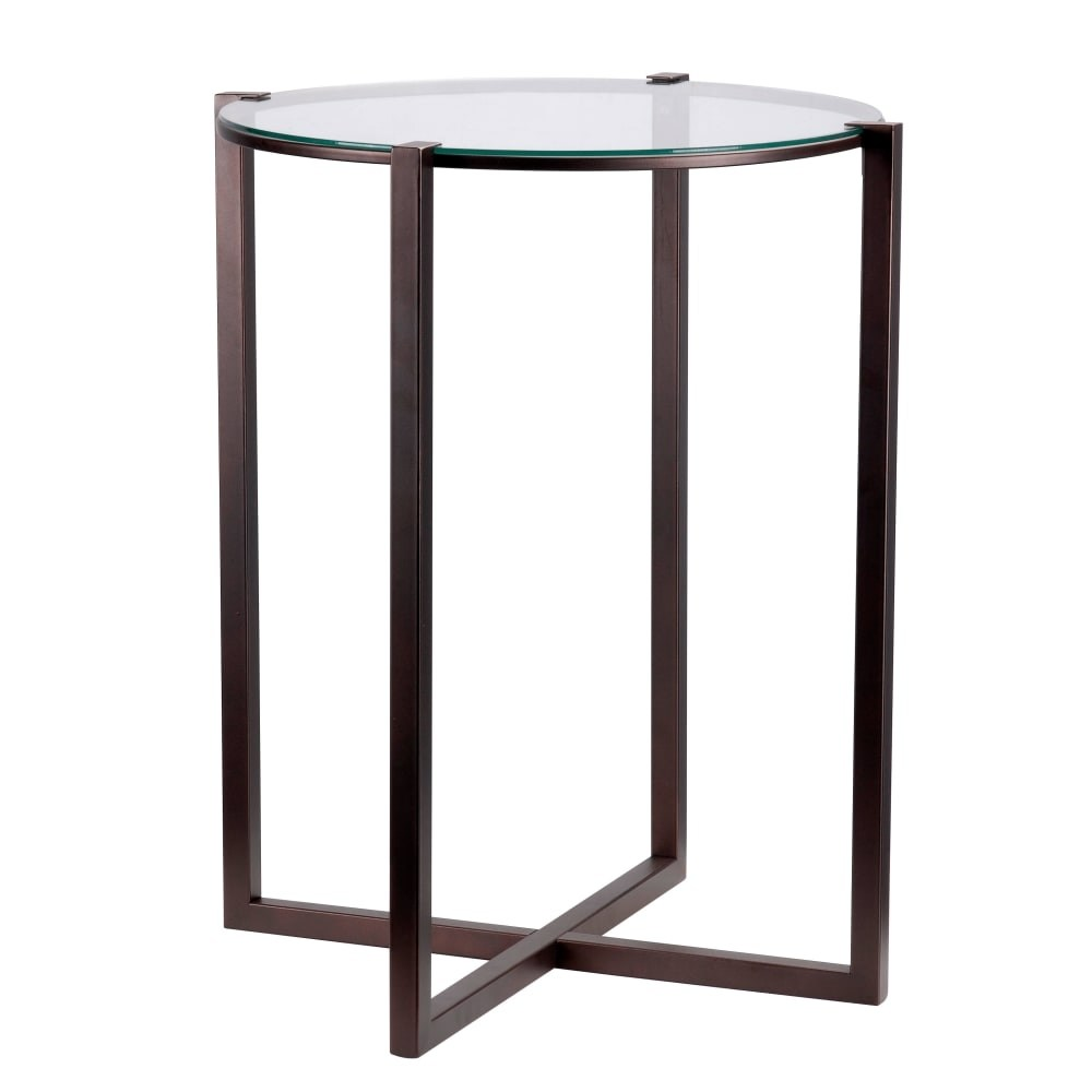 kenroy home lodin tall accent table with clear tempered glass top metal satin bronze free shipping today sea lamp room essentials hairpin walnut teak garden side vale furniture