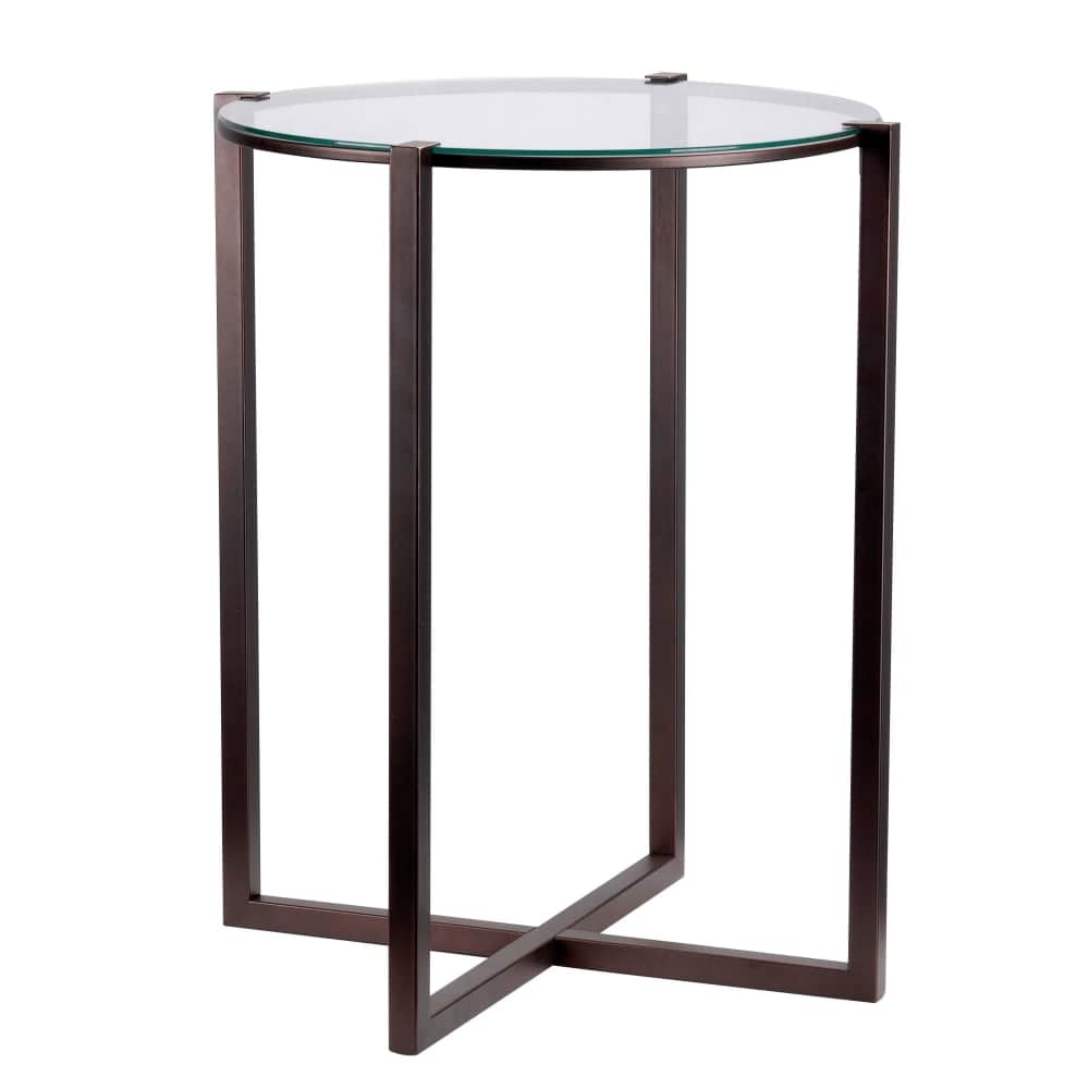 kenroy home lodin tall accent table with clear tempered glass top satin bronze free shipping today art deco lighting jcpenney furniture clearance orange accessories hand painted