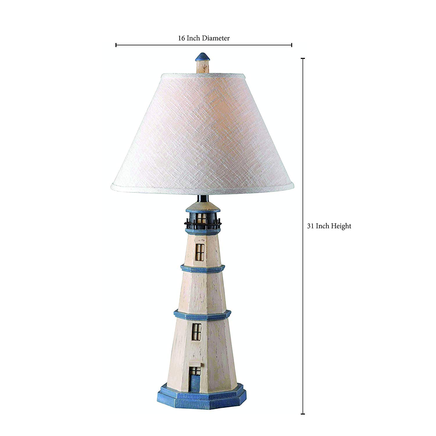 kenroy home nantucket lighthouse table lamp inch height nautical accent lamps diameter antique white vintage retro dining and chairs ethan allen chippendale homemade wood coffee