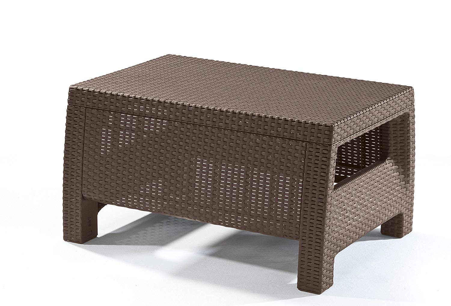 keter corfu coffee table modern all weather outdoor patio garden backyard furniture brown side with cooler ott outside cover bedroom couch thin sofa console storage hall accent