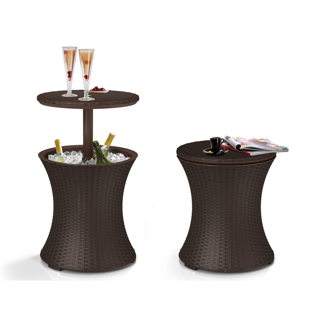 keter pacific cool bar brown wicker rattan outdoor patio deck pool side table beverage cooler ice furniture and legs mirage mirrored accent dining room chair sets small square end