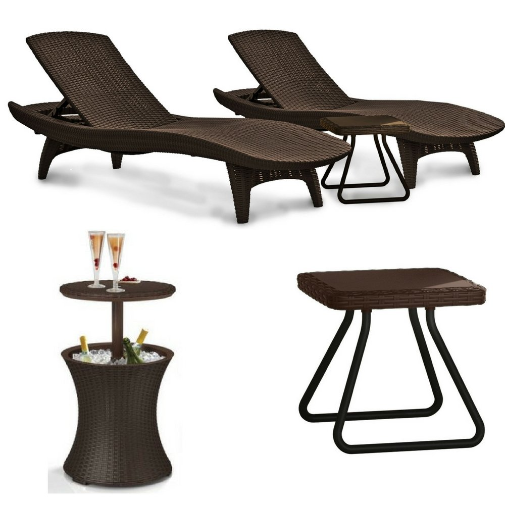 keter pacific outdoor patio pool lounger and side table beverage cooler brown set with cool bar rattan style heavy duty red round tablecloth dining room chair sets hammered end
