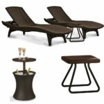 keter pacific outdoor patio pool lounger and side table cooler brown set with cool bar rattan style beverage heavy duty gray lamps sets retro lounge furniture diy living room 150x150
