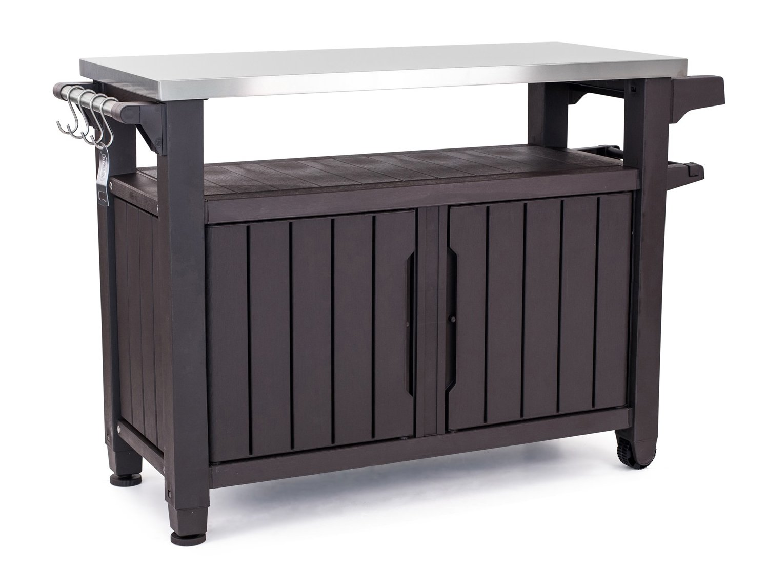 keter unity indoor outdoor entertainment bbq storage sideboard table prep station serving cart with metal top brown garden mission style lamps large wall clocks wine cabinet