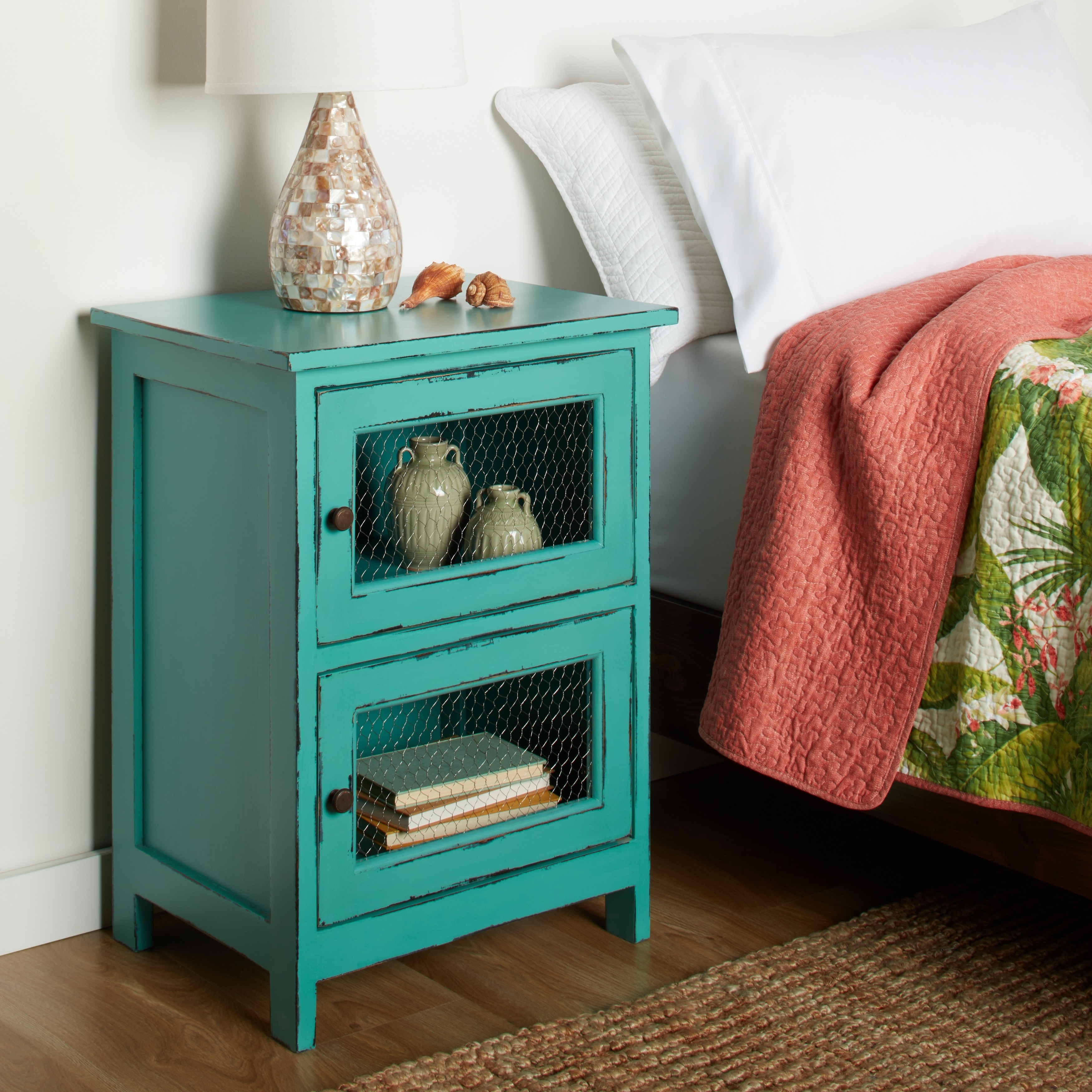 kijang turquoise night stand free shipping today teal colored end tables red outdoor side table white wicker bedside brown coffee marble top kitchen decor steamer diy patio accent