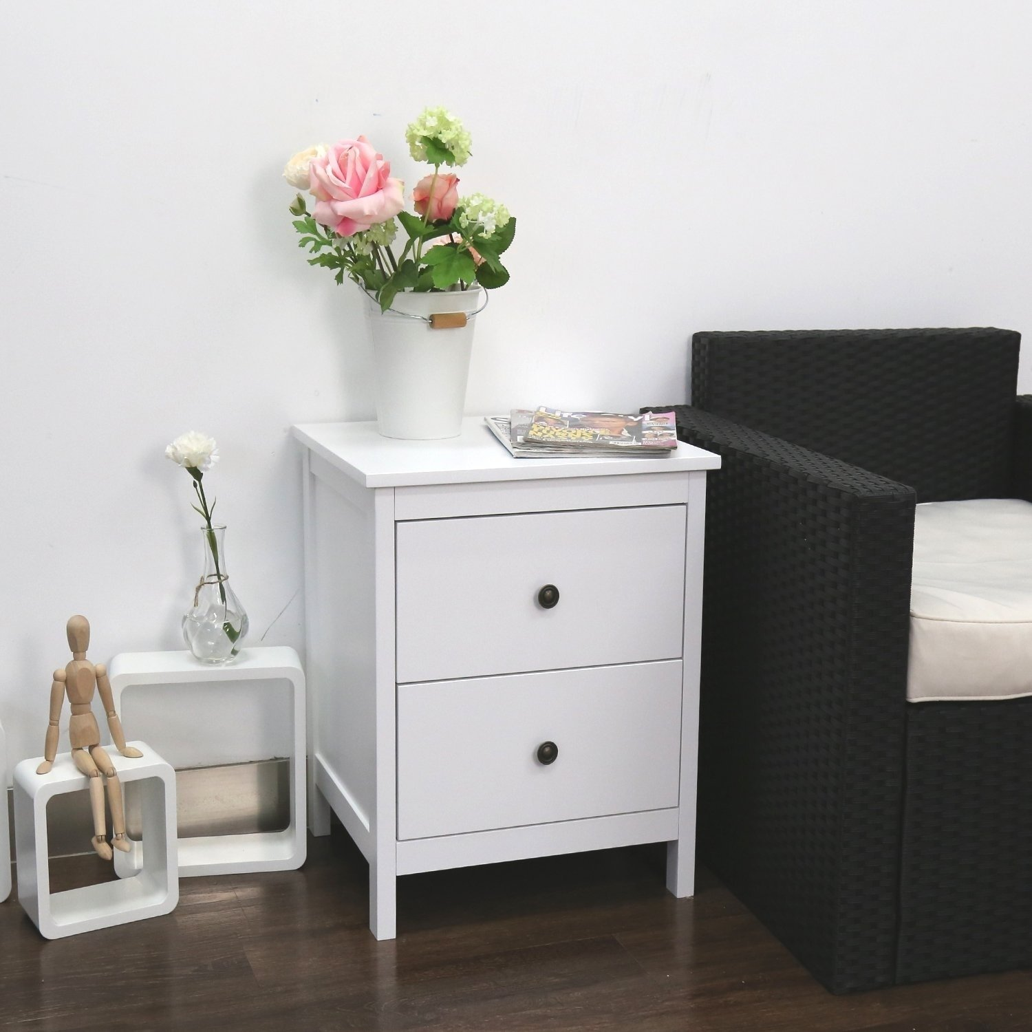kinbor nightstand wood accent table side end for bedroom living room storage drawers with black farmhouse dining plans ikea cube seat drums light attached parsons desk small half
