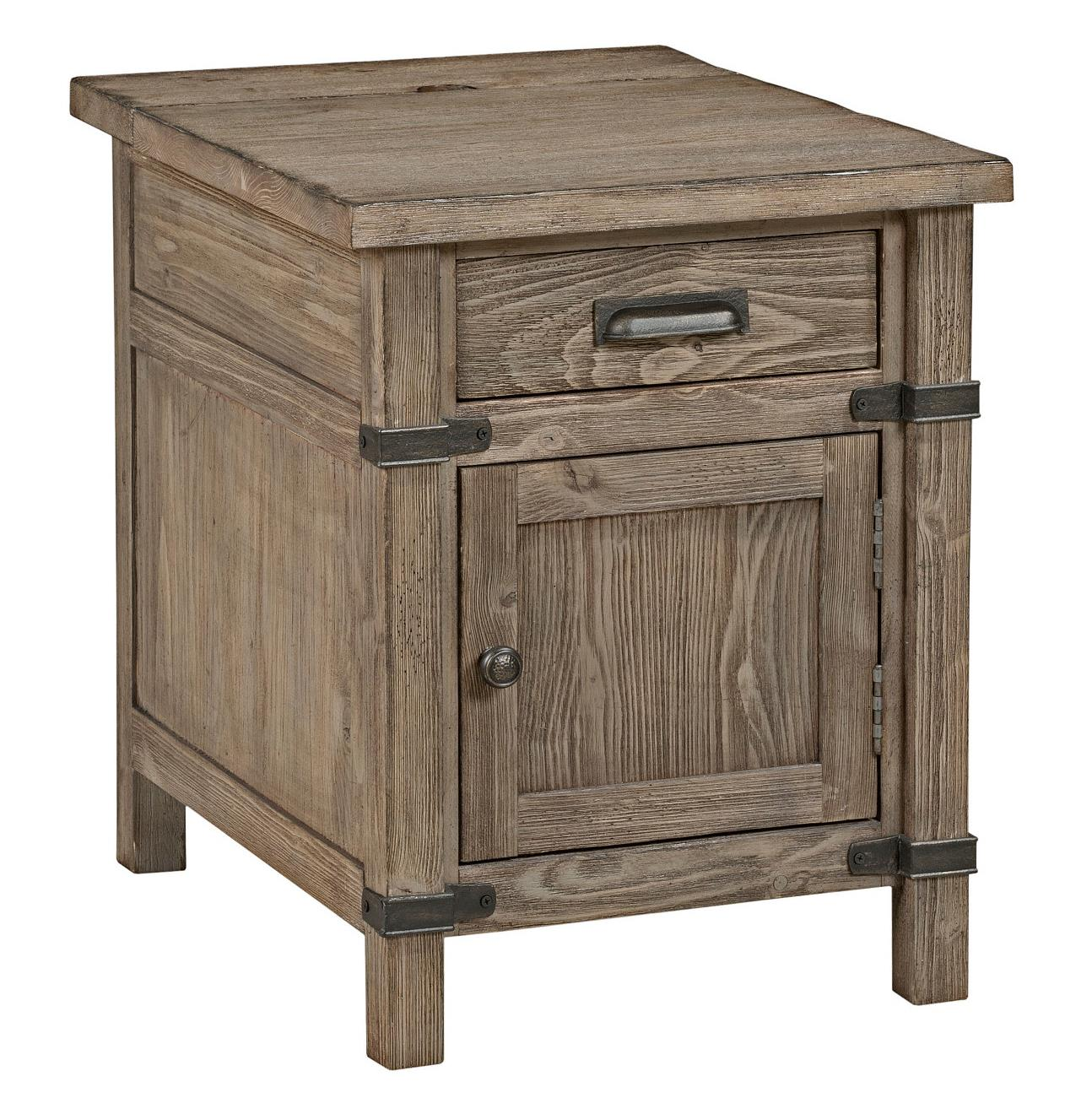 kincaid furniture foundry rustic weathered gray chairside products color accent table with power oval tablecloth sizes cabinet knobs stump pottery barn architect floor lamp purple