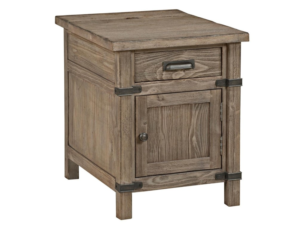 kincaid furniture foundry rustic weathered gray chairside products color accent table with power strip foundrychairside outdoor wicker storage pottery barn dining room chairs high