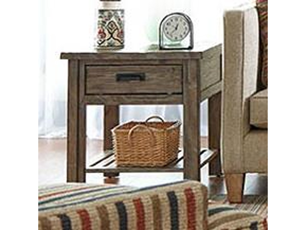 kincaid furniture foundry rustic weathered gray end table with products color wood one drawer accent threshold foundrydrawer abacus lamp half oval industrial garden bar ideas