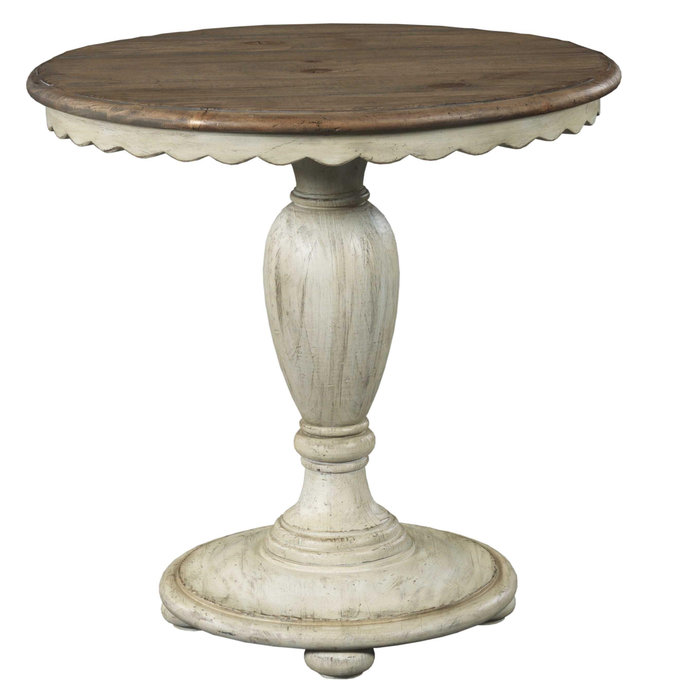 kincaid furniture weatherford round accent table with scalloped products color cornsilk tables beverage tub stand carpet door plates small trestle legs pier one imports coffee