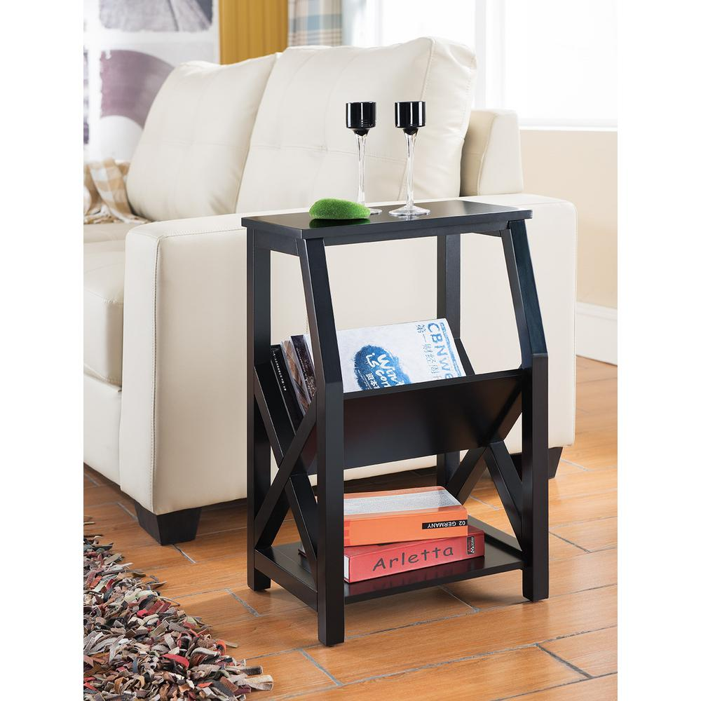 kings brand furniture black wood magazine rack end table racks accent with holder target bedside lamps unique occasional tables building sliding barn door vintage brass and glass