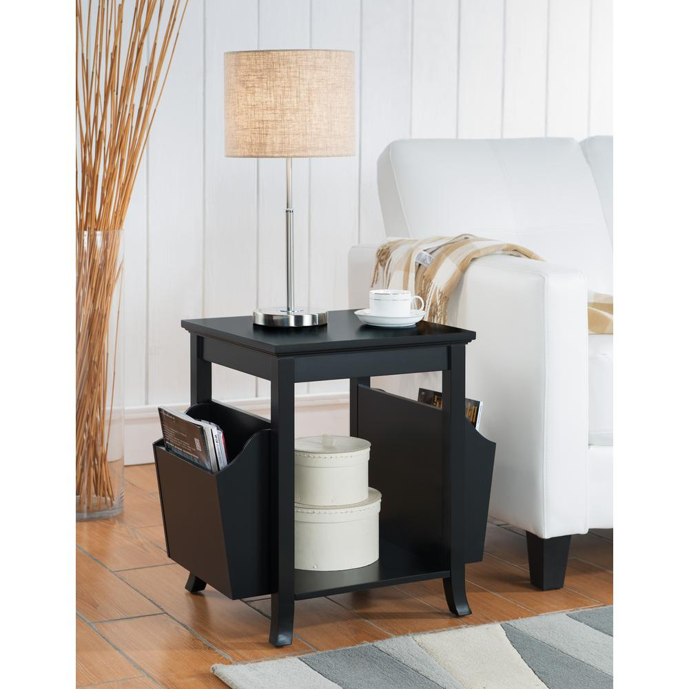 kings brand furniture black wood veneer accent table with magazine end tables round screw legs rack patio coffee and side wicker baskets mirrored bedside clearance metal diy desk