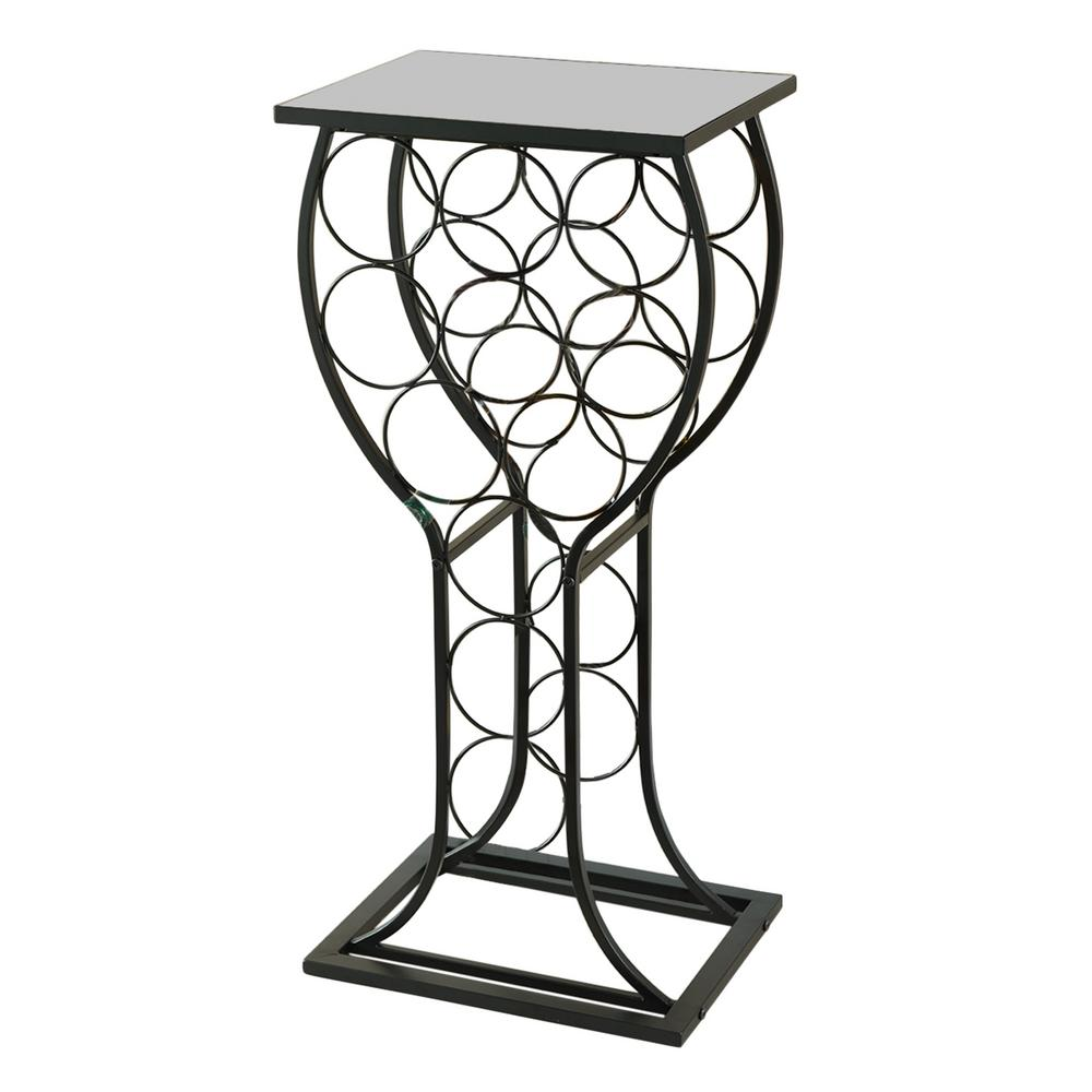 kings brand furniture bottle black metal with marble finish top wine racks accent table rack shape small side storage blanket box ikea center couches pedestal coffee contemporary