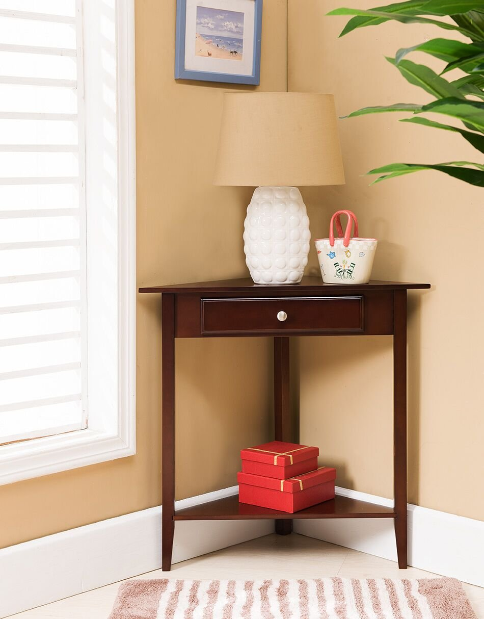 kings brand walnut finish wood corner sofa accent table with drawer kitchen dining mini decorative lamps inch wooden legs espresso colored end tables uttermost side small storage