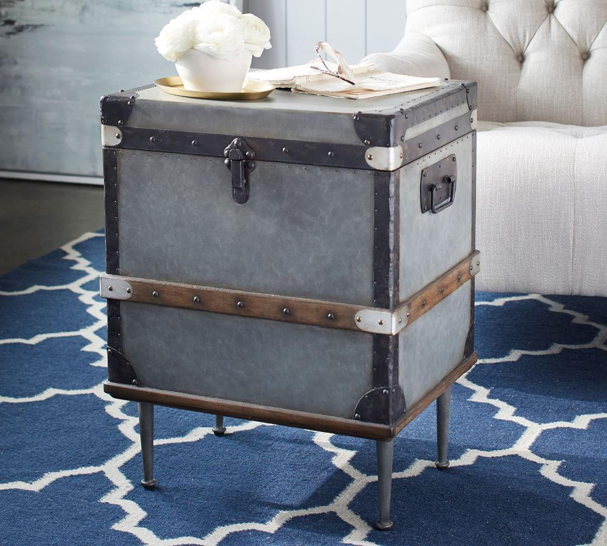 kirkwood trunk side table pottery barn media timor wood accent tall white bookcase outdoor umbrella stand weights ikea bedroom storage ideas inch console glass lamp shades for
