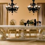 kitchen accent table urban home interior vintage and unique dining room ideas with rectangular white granite set artistic bases craved plus black classy chandeliers pieces 150x150
