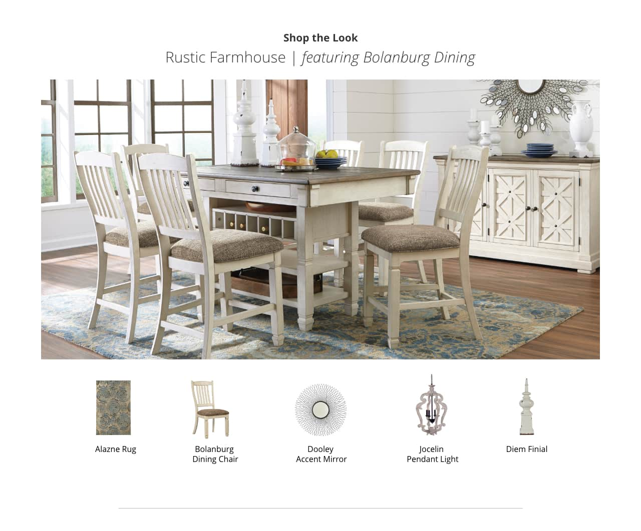 kitchen dining room furniture ashley home accent pieces for table rustic farmhouse bolanburg inch wooden legs contemporary set farm thin cabinet studded chairs christmas placemats