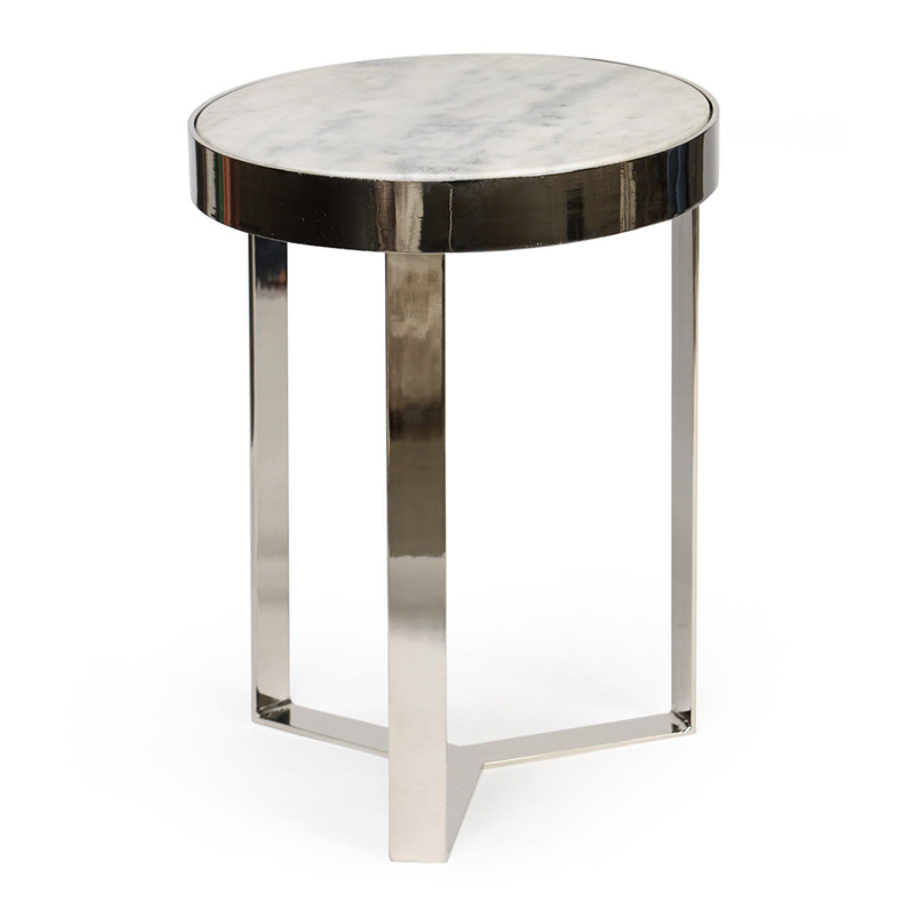 knox and harrison contemporary metal marble accent table polished nickel black home accents nautical furniture round coffee end tables three drawer side antique leather top