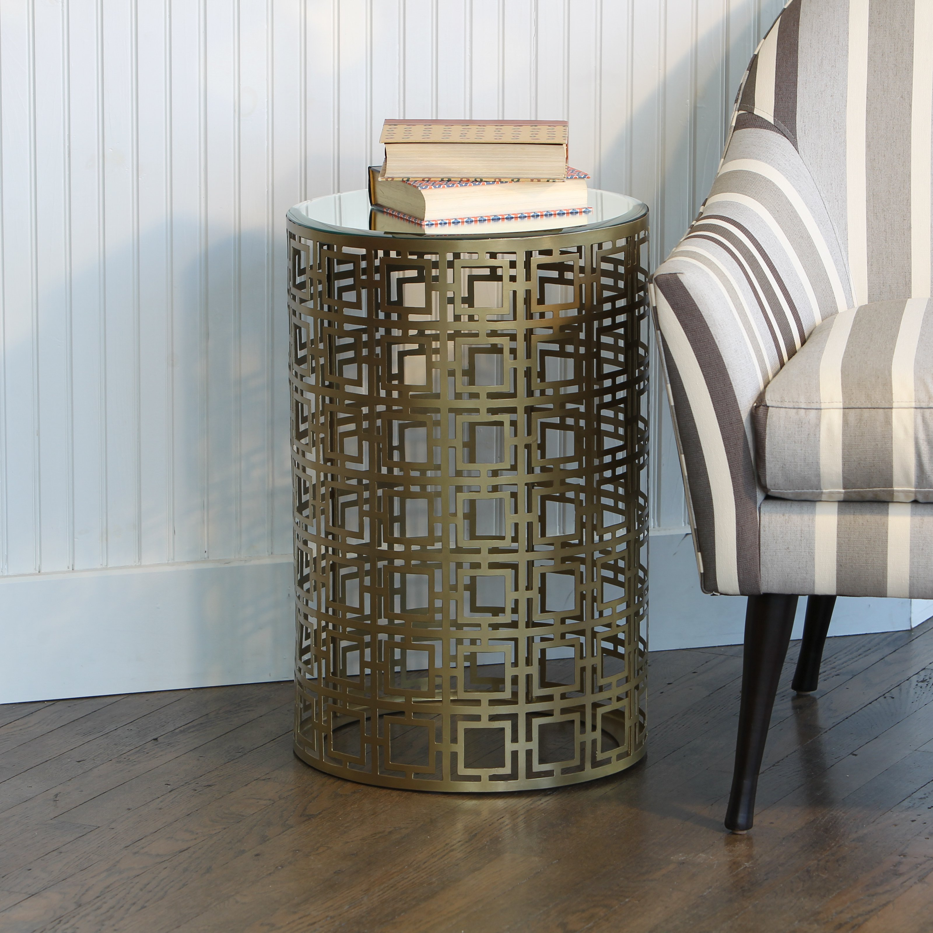 knox and harrison pierced geometric pattern round accent table master antique brass safavieh storage bench small decorative side tables chestnut furniture gaming dock ashley