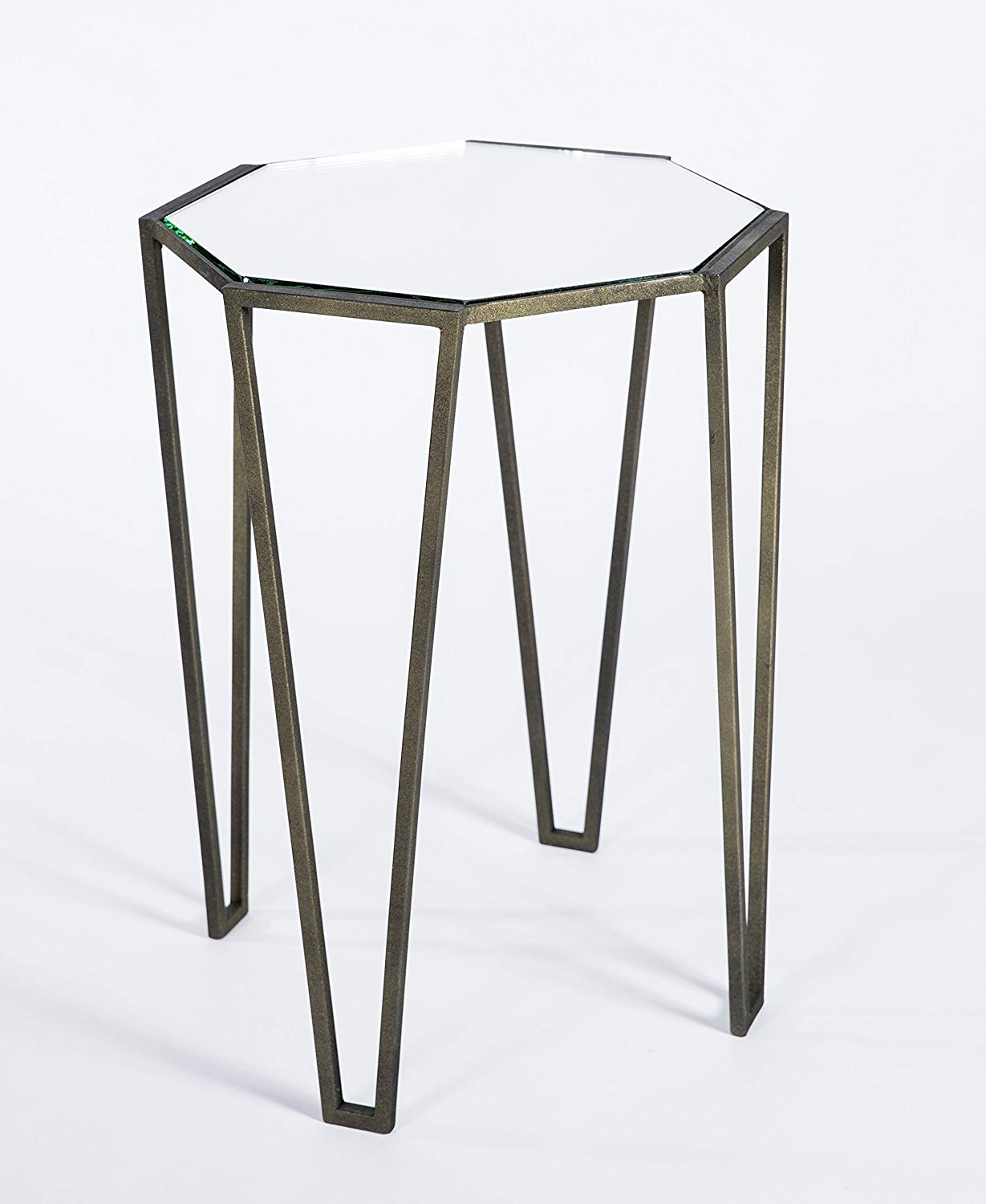 knox and harrison pointed leg occasional accent table mirror antique bronze with mirrored top kitchen dining target chalk paint man cave furniture white dresser laminate floor