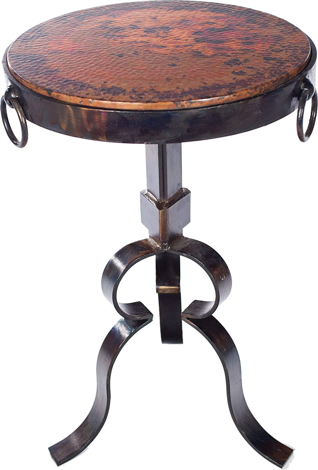 knox and harrison round iron occasional accent table gold hammered with copper top kitchen dining end door large outdoor home furniture wood coffee edmonton barnwood tall side