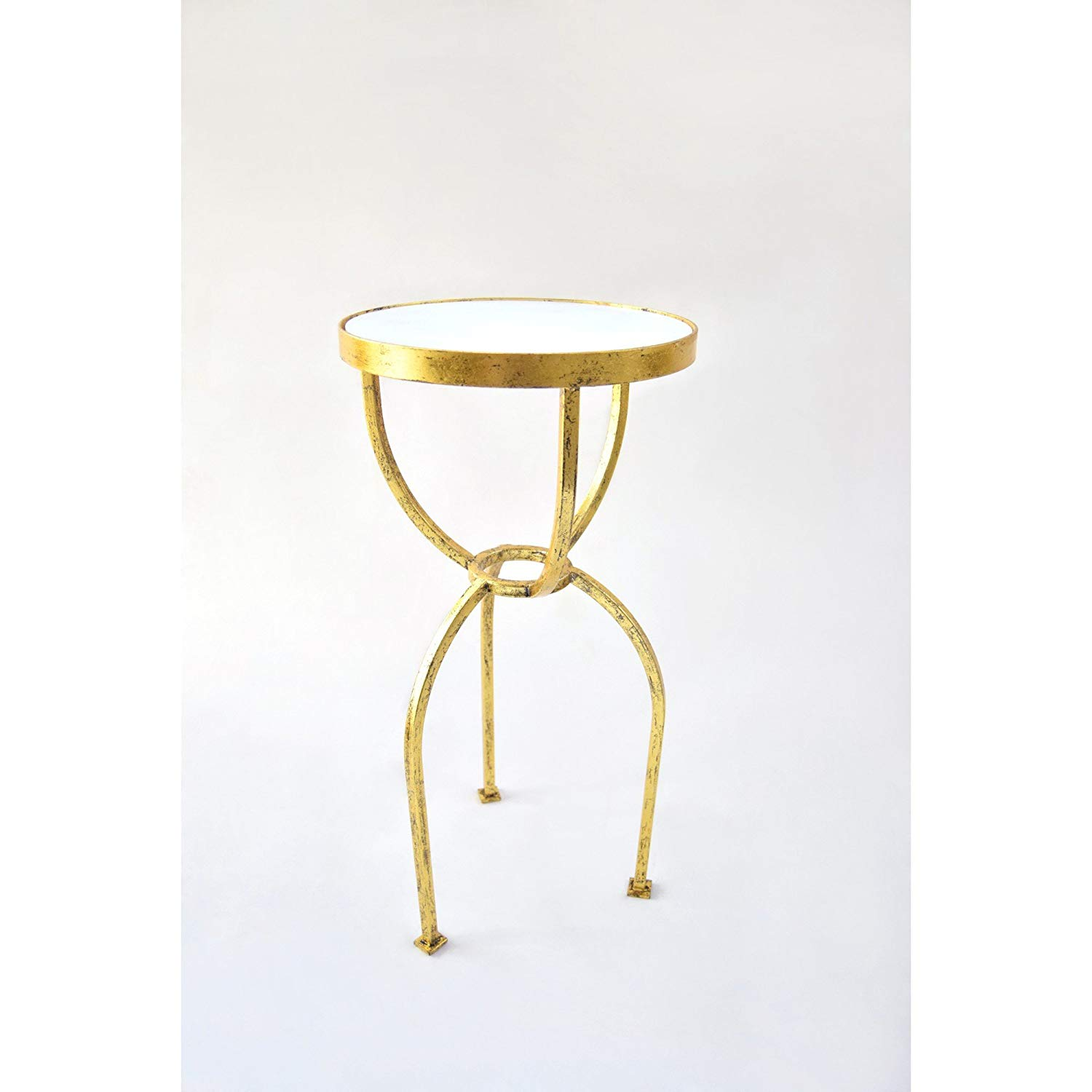 knox and harrison three legged square tube occasional glass accent table gold leaf with white granite top kitchen dining macys recliners swedish reproduction furniture overbed
