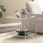 knox glam mirrored end table chrome accent tables living room height dining set piece coffee kmart black pedestal grey night target threshold curtains ornaments inch console glass 150x150