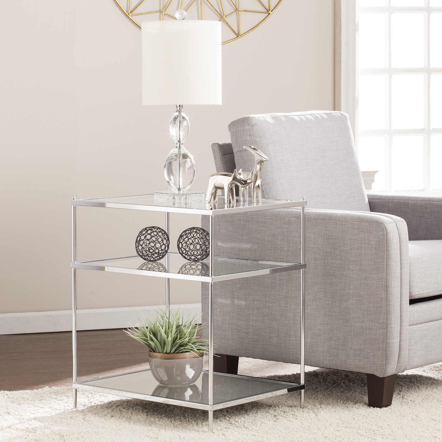 knox glam mirrored side table chrome accent uttermost tables ethan allen coffee small glass top patio sofa set clearance bedside lockers inch console kidney shaped cocktail shell