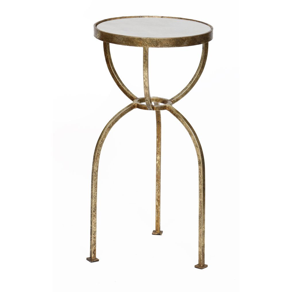 knox harrison handmade gold leaf granite top round end table accent with white piece coffee set living room ornaments mahogany bedside tables uttermost small glass side height