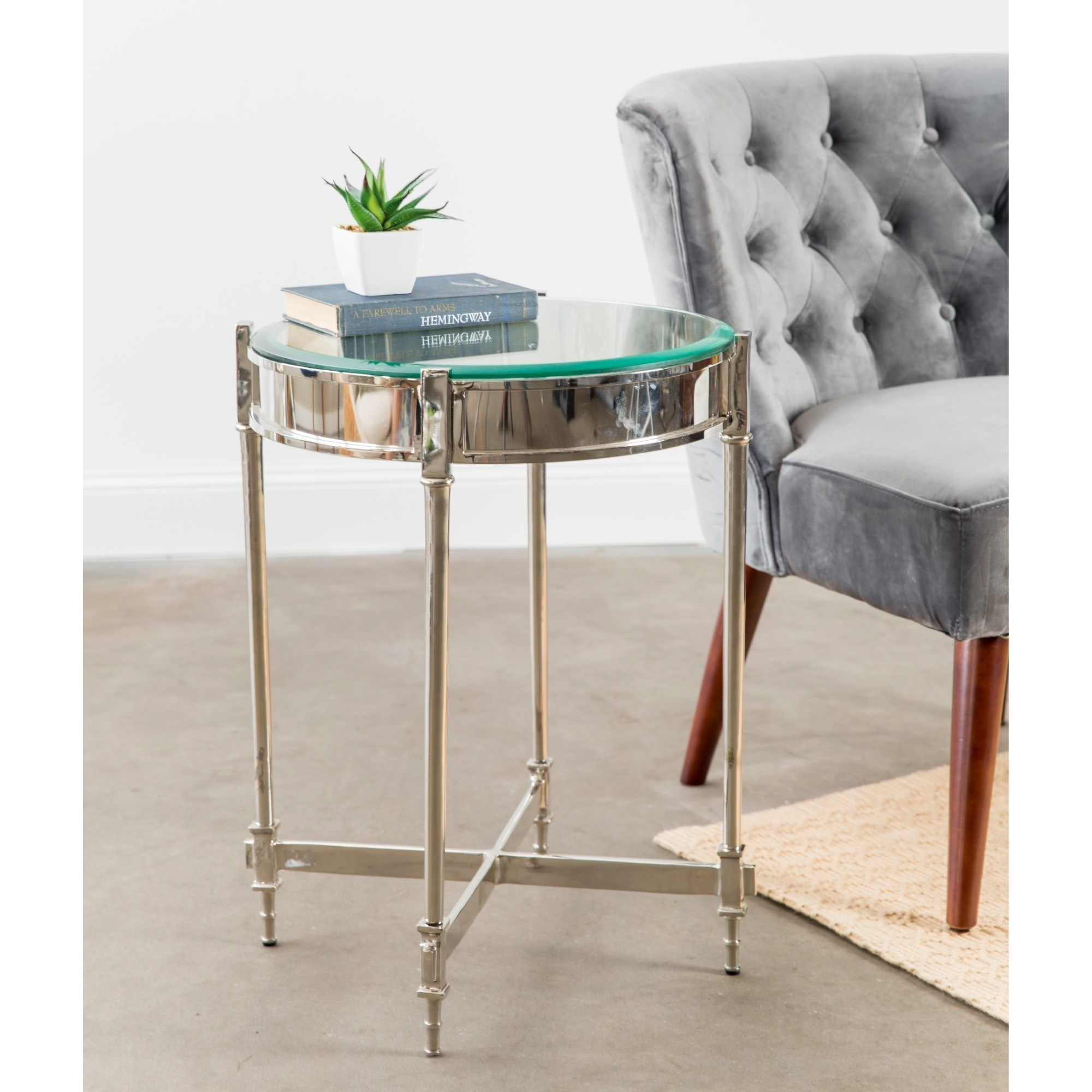 knox harrison nickel finish aluminum end table with beveled glass accent top uttermost tables piece coffee set cordless bedside lights shabby chic fur furniture slim couch black