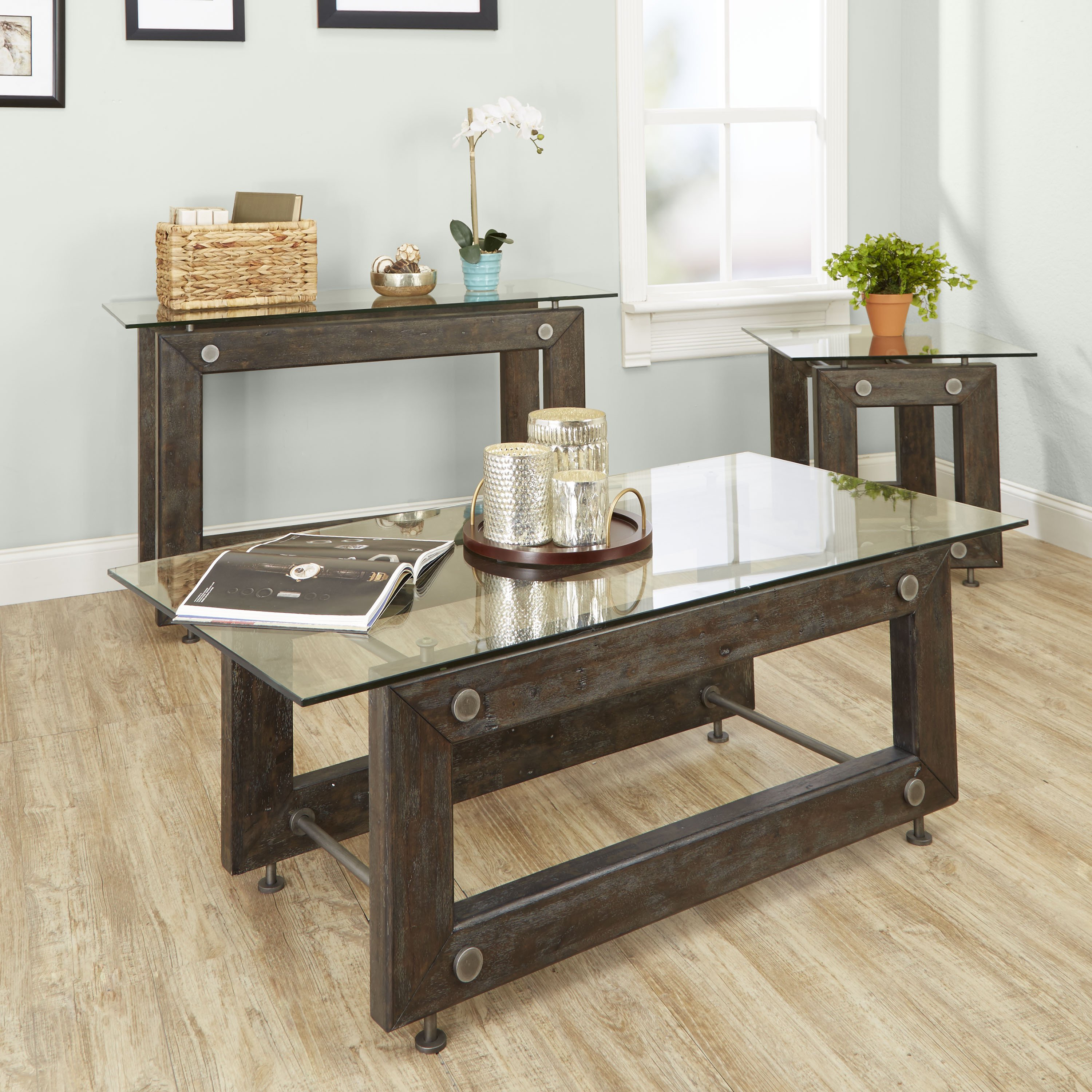 knox industrial collection coffee table silverwood free accent shipping today glass bedside lockers contemporary desk lamps living room furniture tables grey night console vintage