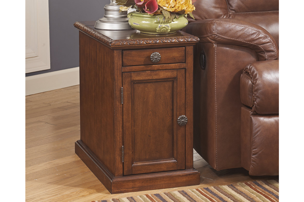 laflorn chairside end table with usb ports ashley crop accent wood console cabinet living room cabinets and chests board rugs black drawers vintage mid century chairs hooker