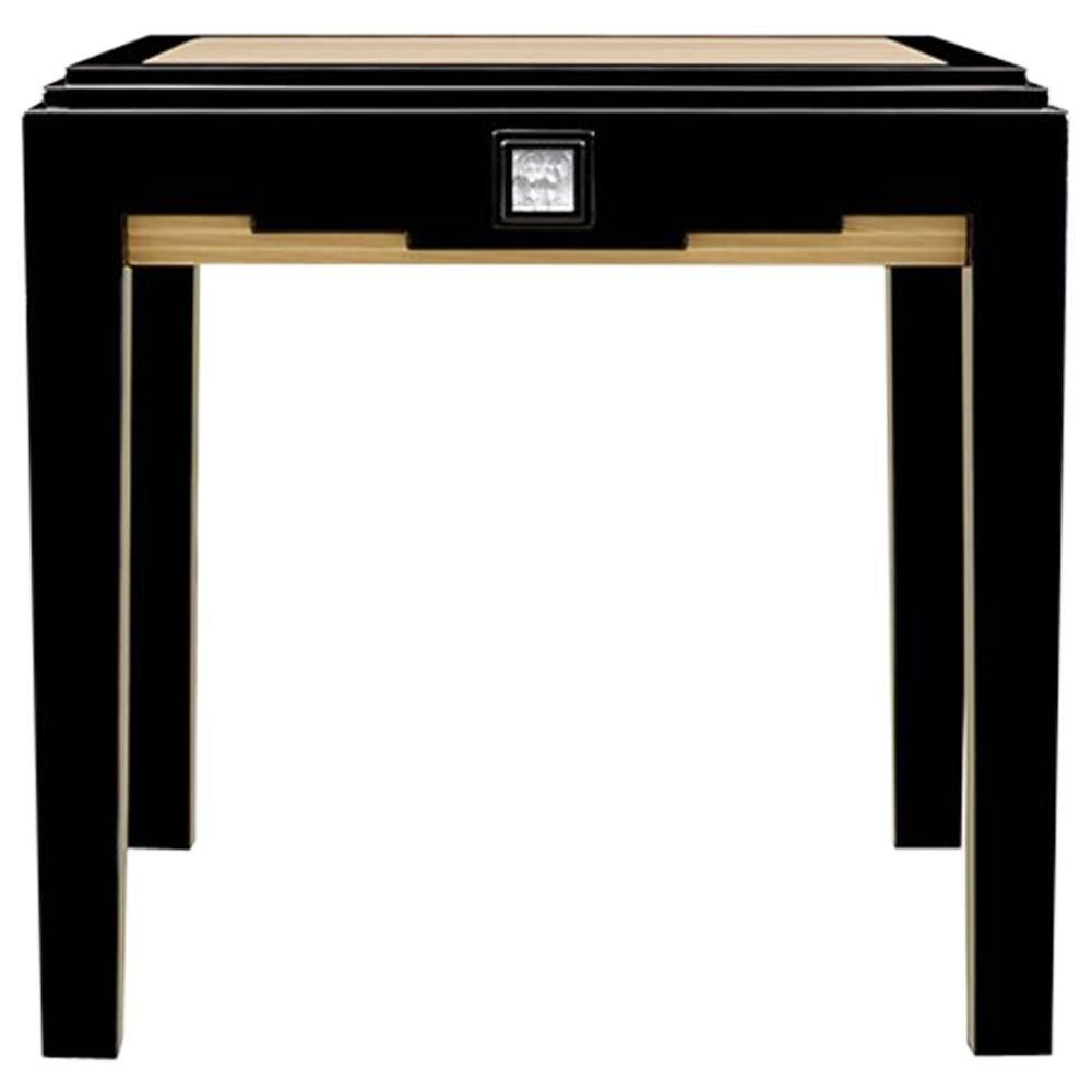 lalique black lacquer and ivory ash side table with crystal panel accent small antique folding cast iron patio furniture pottery barn brass floor lamp knotty pine end tables inch