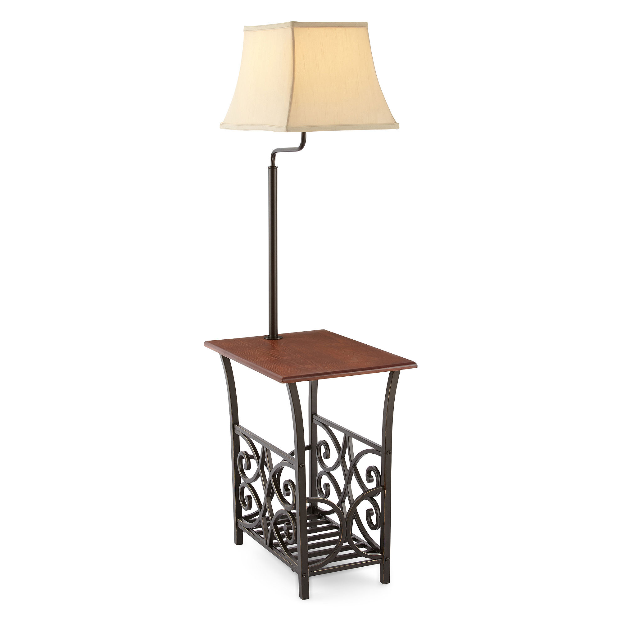 lamp preston park end tables dark oak wood veneer finish side table with attached and magazine rack combo top warisan lighting stand small corner old accent furniture holder lamps