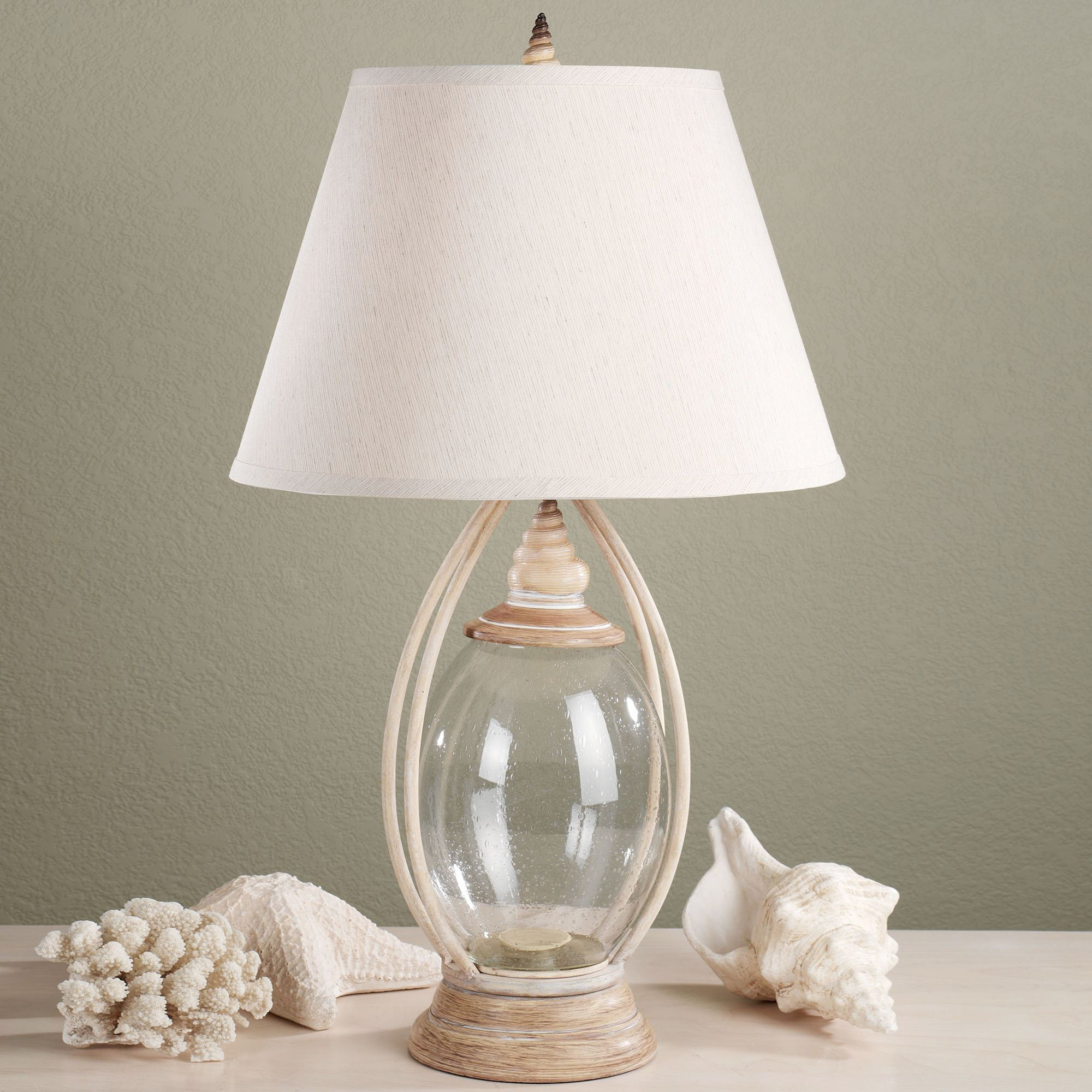 lamp seashell table lamps nautical sets sea glass lava lighting coastal ceiling lights accent bedroom antique ship for full size egg chair bunnings country kitchen crate and