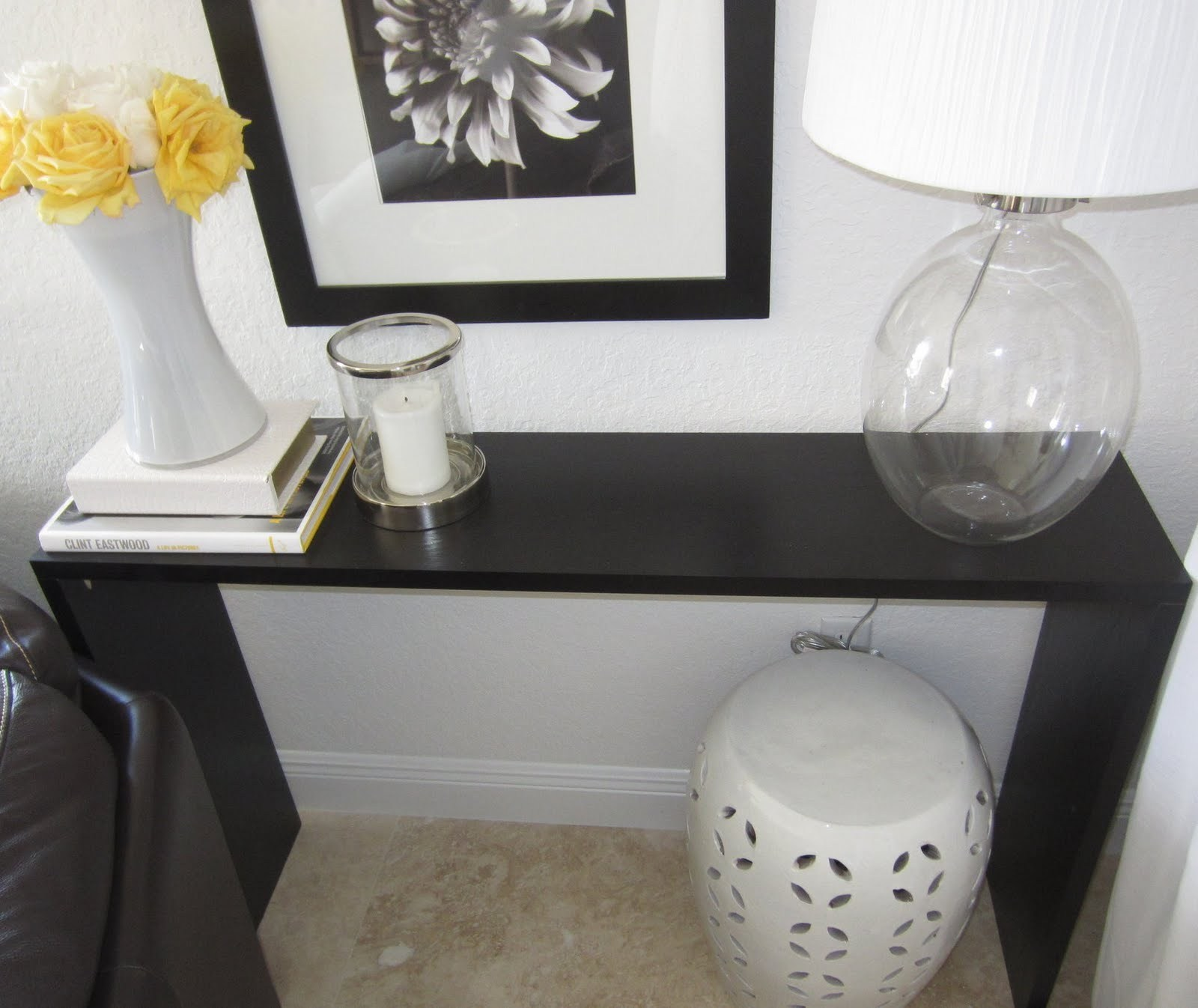 lamps plus accent tables fascinating console ikea dark brown finish decorated against the wall elegant table lamp and ceramic vase white round ott workbench legs pier one