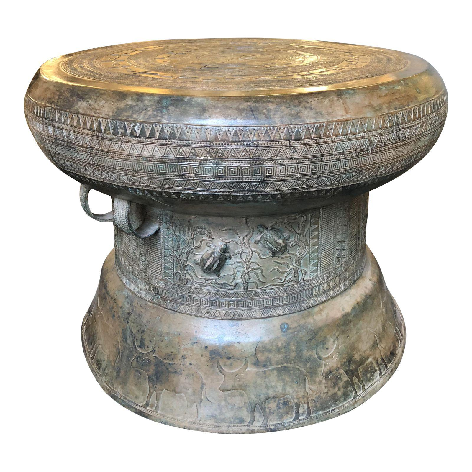 laotian rain drum side table original design plus gallery brass accent modern tables glass nesting target wicker outdoor furniture bbq prep crystal base lamp farmhouse chairs