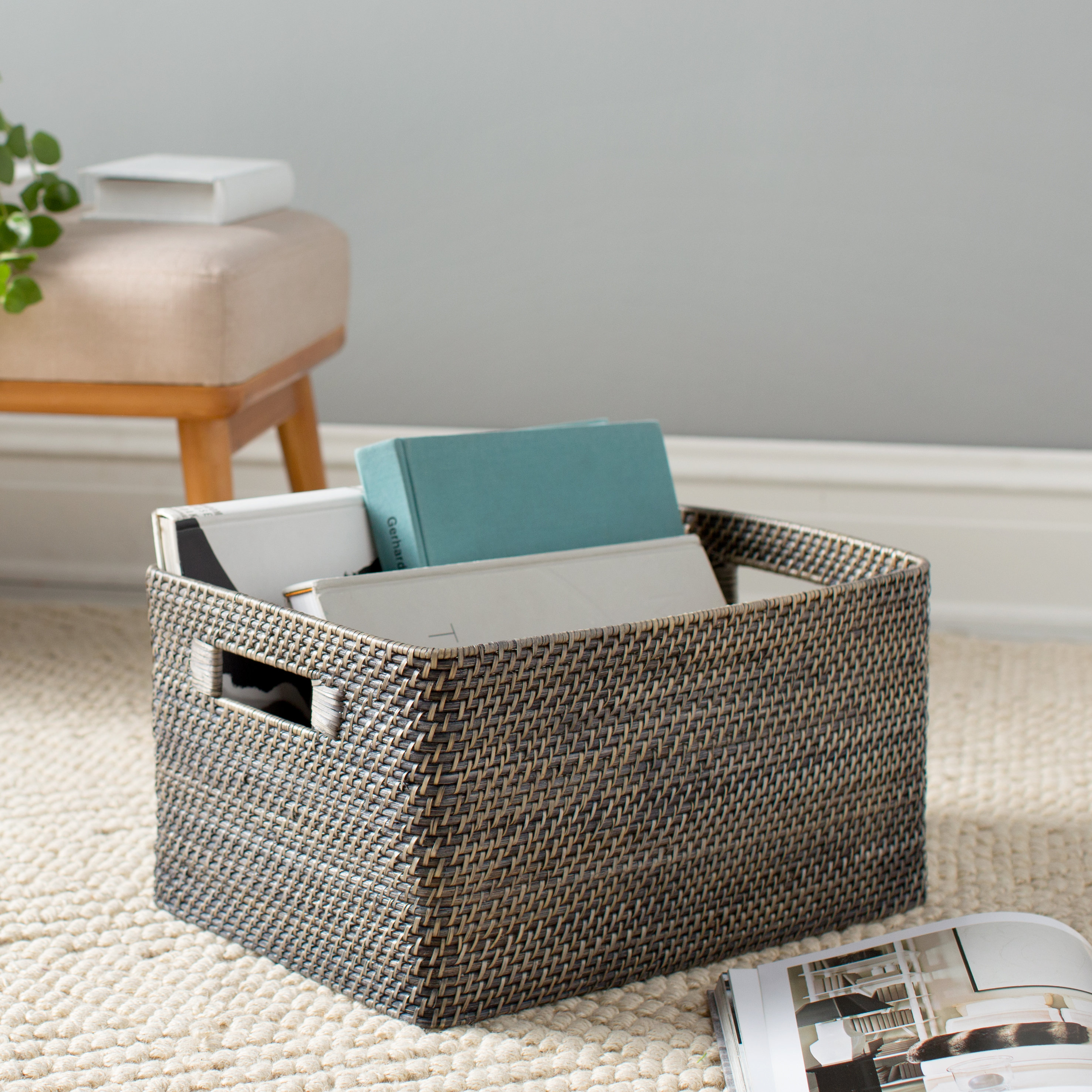 large flat baskets rectangular rattan storage basket wire accent table quickview small grill mid century modern dining room office end wooden bedside cabinets high patio green