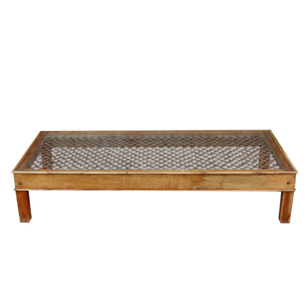 large metal grill top coffee table chairish side outdoor and end tables high kitchen with bar stools painted ideas round gold accent coloured nest small glass desk battery lamps