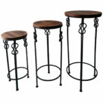 large round wood steel knot accent table home metal amp narrow console with shelves toolbox chest cabinets upholstered dining room chairs white sets drum kit seat comfortable 150x150