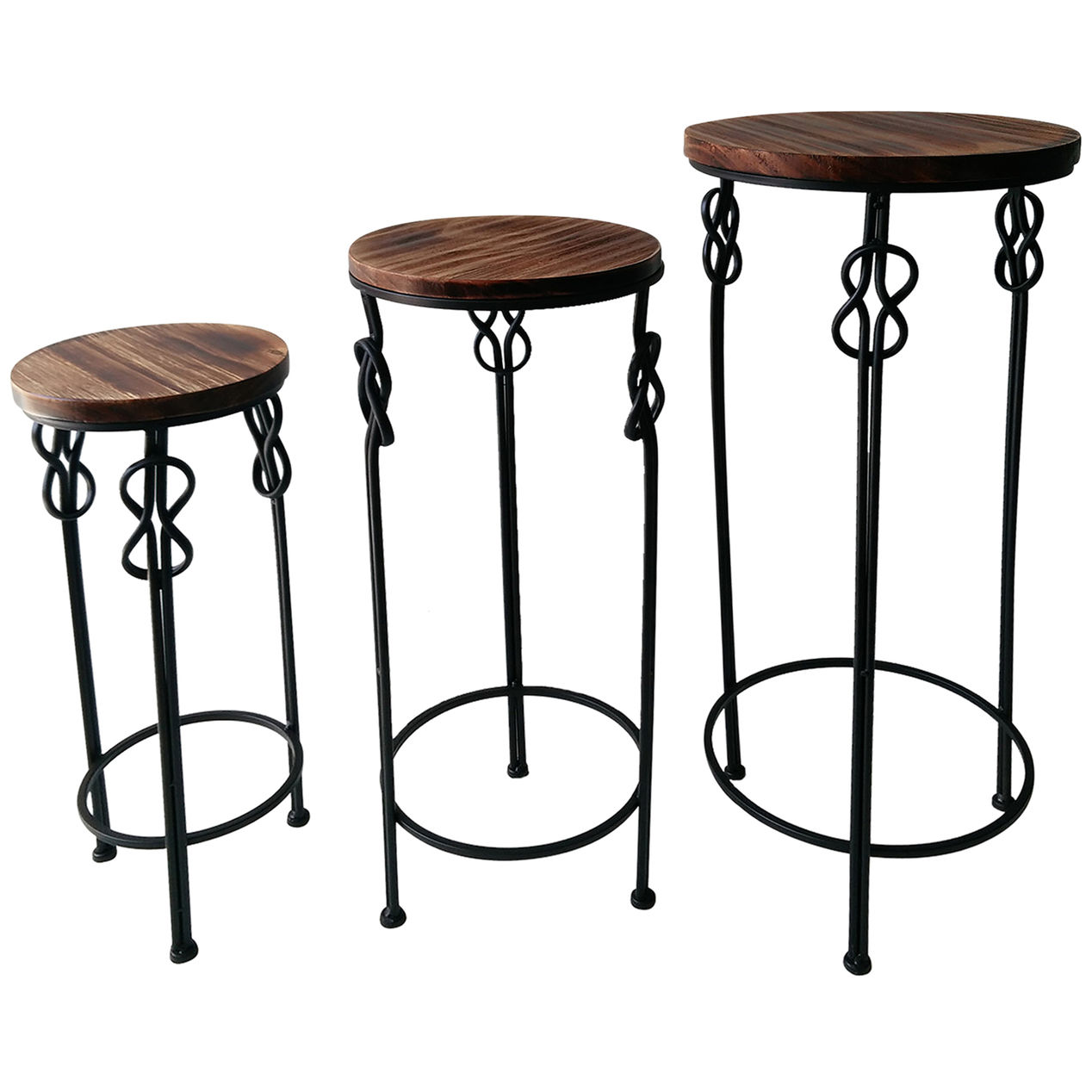 large round wood steel knot accent table home metal amp narrow console with shelves toolbox chest cabinets upholstered dining room chairs white sets drum kit seat comfortable