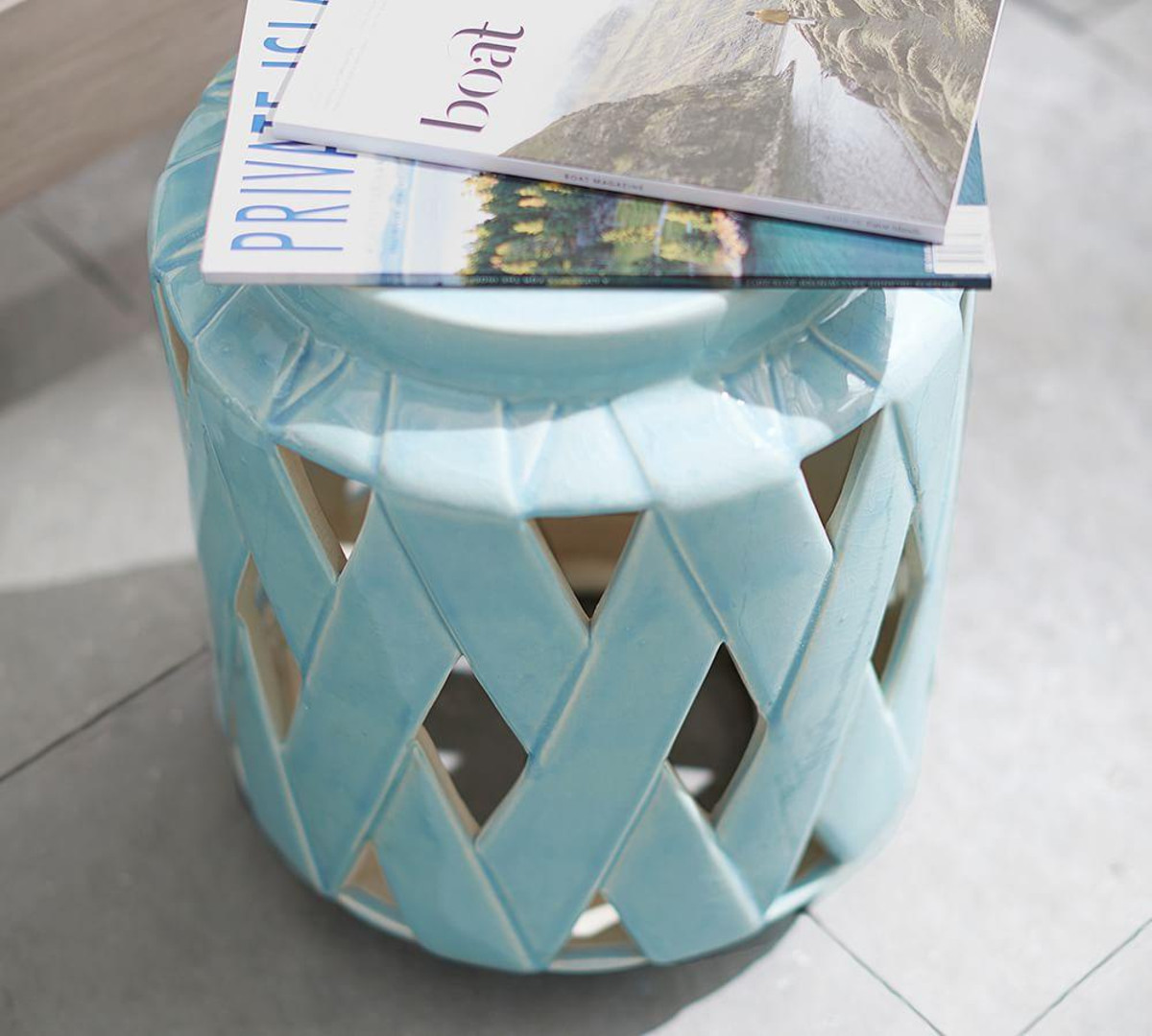 lattice ceramic accent table pottery barn media blue tessa furniture butcher block countertop martha stewart outdoor maple trestle curved console plastic side pier one wicker