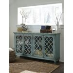 lattice glass door accent cabinet antique teal finish products signature design ashley color cottage accents table with doors rustic chic coffee round dining cloth xmas 150x150