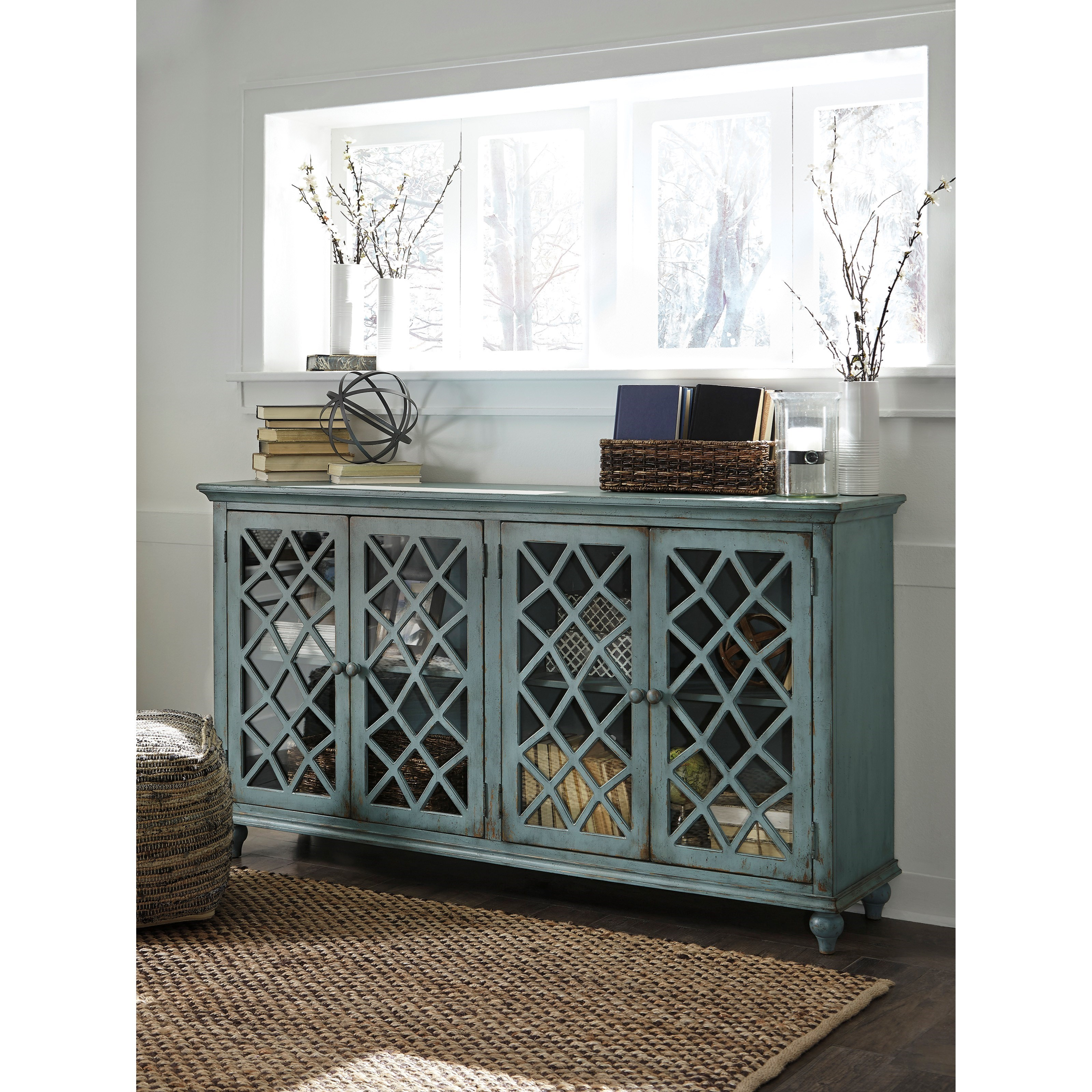 lattice glass door accent cabinet antique teal finish products signature design ashley color cottage accents table with doors rustic chic coffee round dining cloth xmas