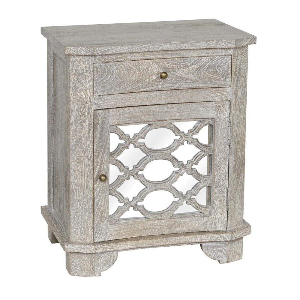 lattice whitewash wood mirrored drawer nightstand zin home accent table red living room lounge chair mahogany coffee tables furniture small swivel holiday tablecloth white acrylic