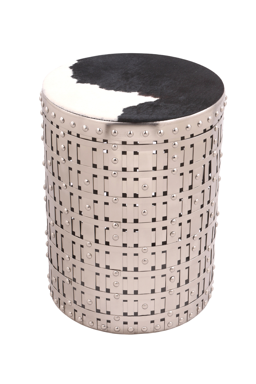latticed silver metal table cowgirl with cow hide fitted top accent round designer bedside lamps wyatt furniture outdoor umbrella weights target pink lamp black marble end tables