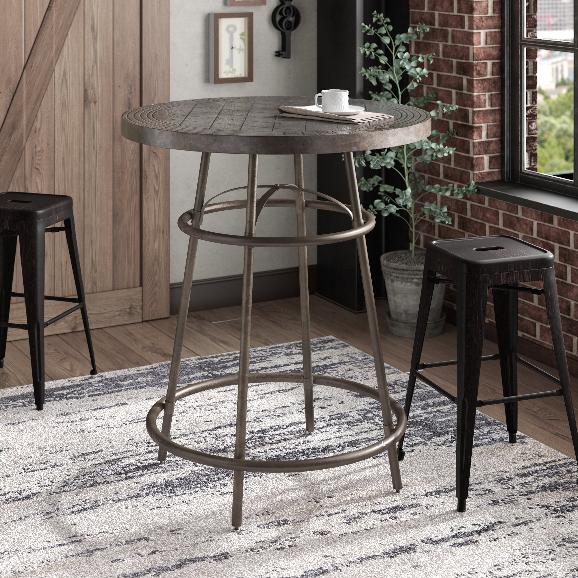laurel foundry modern farmhouse clarisse pub table reviews clarissa metal accent coffee styling chairs with champagne ice bucket black tiffany stained glass lamp placemat set